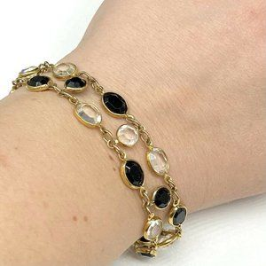 Swarovski Clear Black Bezel Set Crystal Bracelet